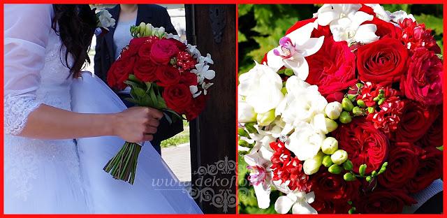 Czerwony bukiet ślubny róże i storczyki