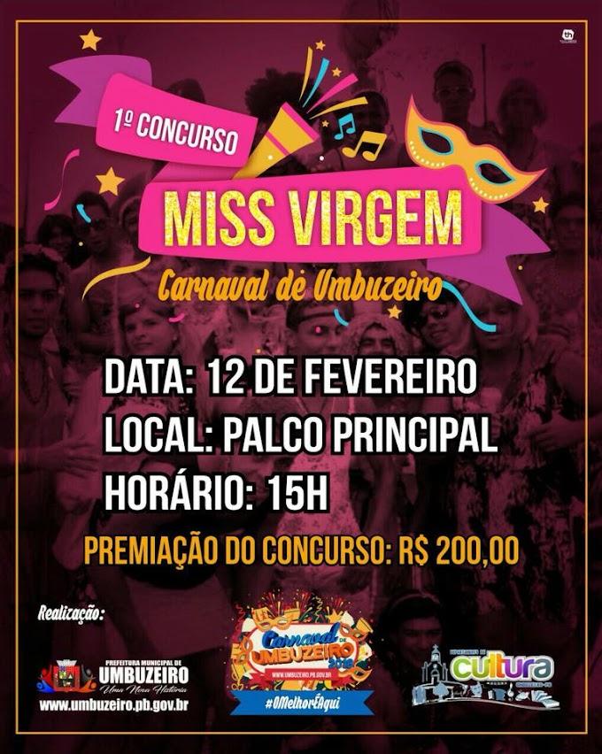 Carnaval de Umbuzeiro 2018: 1º Concurso MISS VIRGEM