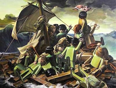 Pintura clásica representada con  figuras de playmobil