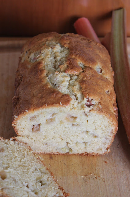 Loaf of sour cream rhubarb quick bread.