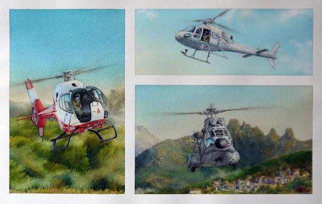 Aquarelle, Hélicoptères, EC-120B, AS-332, AS-555, EAALAT, EH 01-044 Solenzara, EH 05/067 Alpilles
