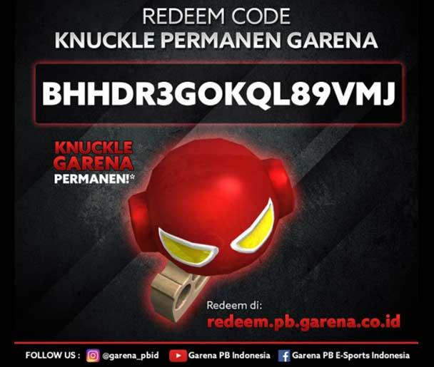 Kode Redeem PB Garena Senjata Knuckle Permanen 2017