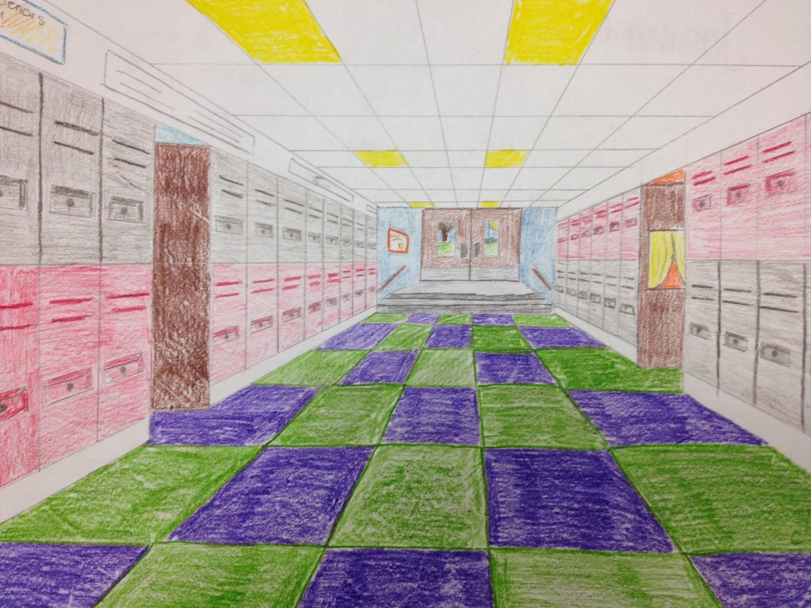 school hallway drawing - HD1600×1200