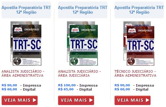 Apostila concurso do TRT-SC técnicos e analistas judiciários.