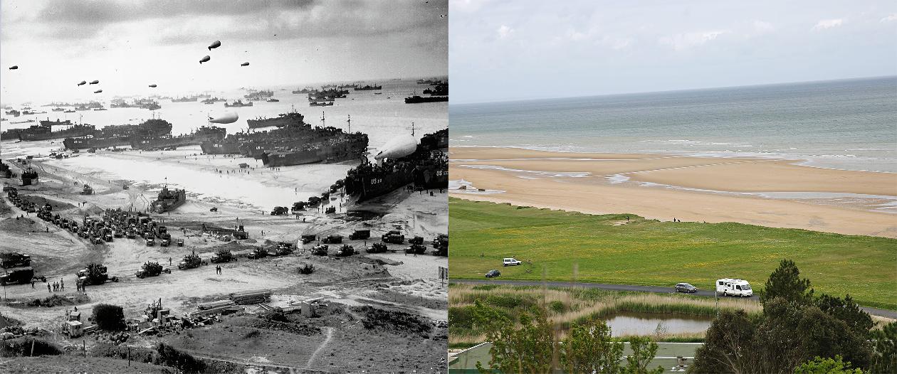 D-day landings scenes in 1944 and now – interactive   eklectica.in