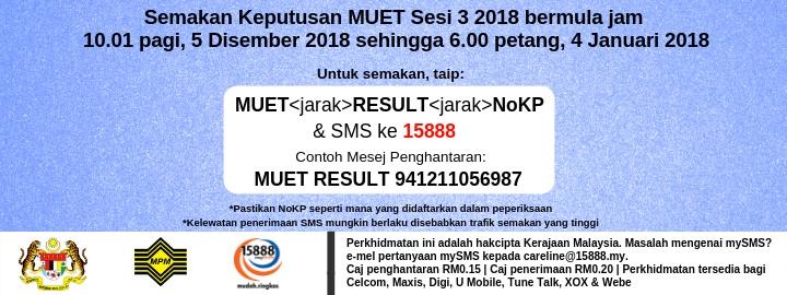 semakan keputusan MUET sesi 1 2019