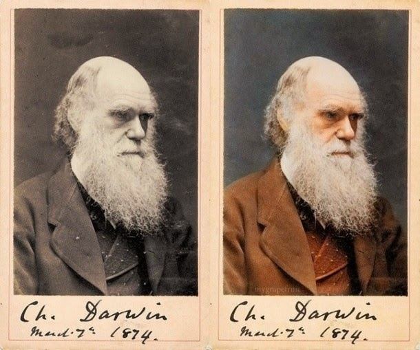 28 Realistically Colorized Historical Photos Make the Past Seem Incredibly Alive - Charles Darwin, 1874