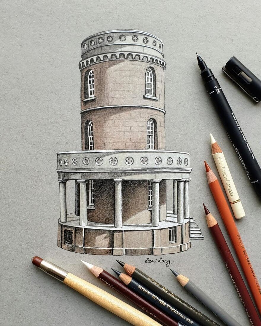 11-The-Clavell-Tower-Demi-Langdoes-Drawings-of-Architectural-Details-and-Buildings-www-designstack-co