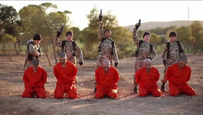 Five ISIS child executioners shoot Five Kurd prisoners each in the head in Syria