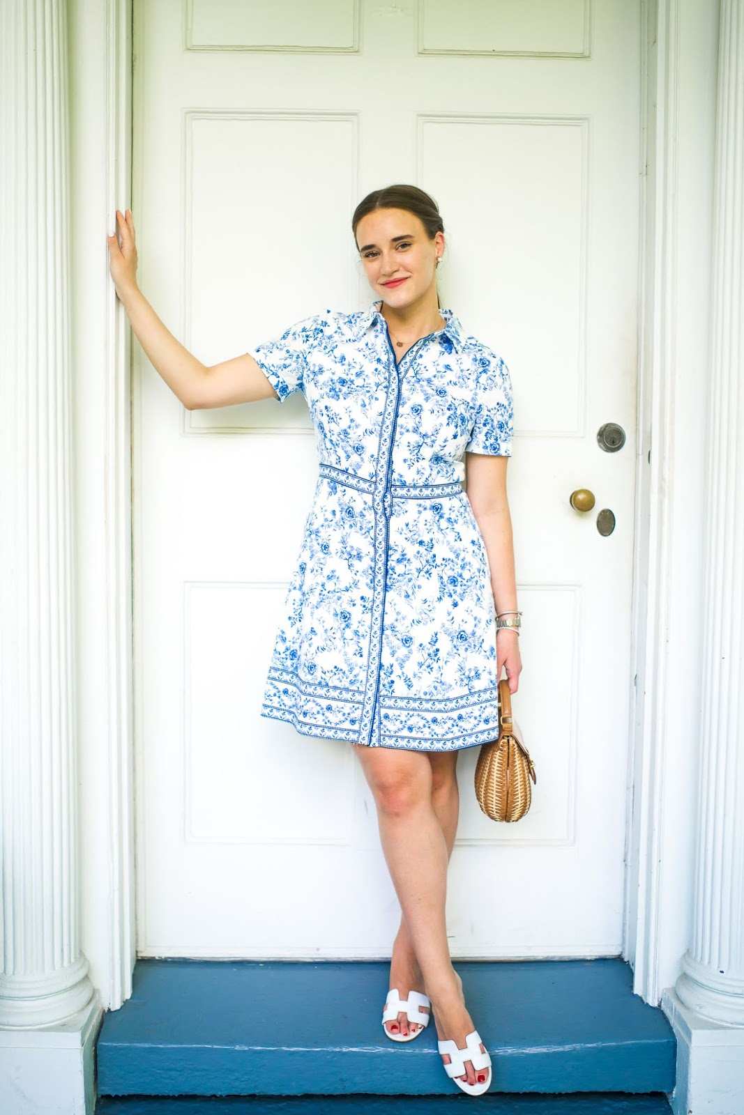 Toile floral shirt dress styled by popular New York fashion blogger Covering the Bases