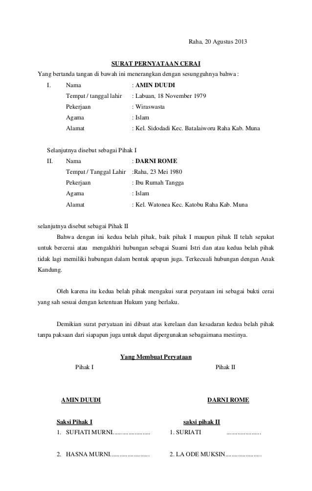 contoh surat pernyataan cerai nikah siri