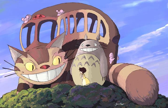 The catbus in My Neighbor Totoro 1988 animatedfilmreviews.filminspector.com