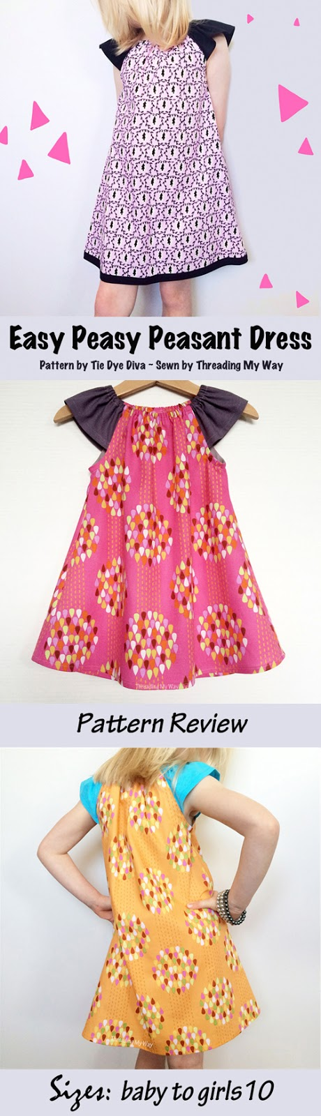 Easy Peasy Peasant Dress by Tie Dye Diva ~ Pattern Review by Threading My Way