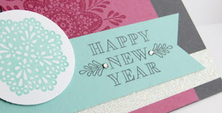 Stampin' Up! Frosted Medallions Happy New Year Card for Stamp of the Month Club #stampinup www.juliedavison.com
