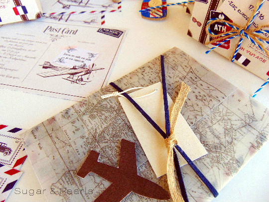 Old map-travelling-Προσκλητήριο βάπτισης με φάκελο από ριζόχαρτο