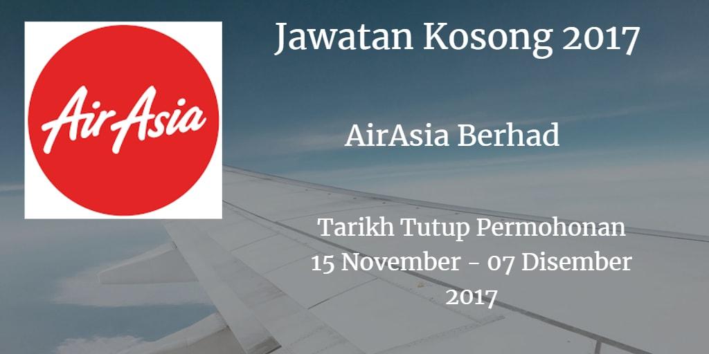 Jawatan Kosong AirAsia Berhad 15 November - 07 Disember 2017