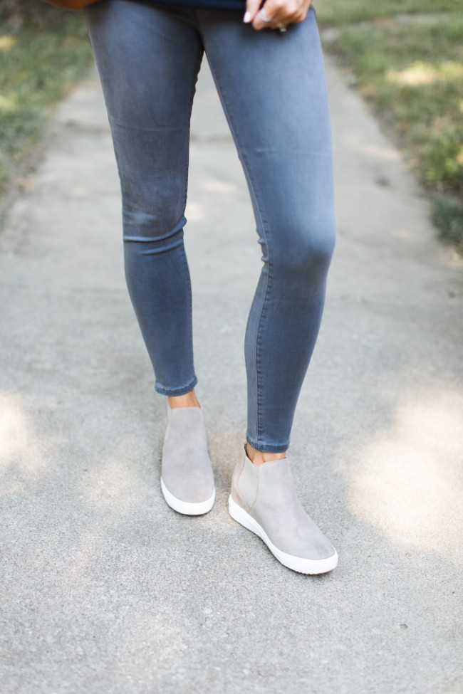 Wedge Sneakers, Gray Jeans