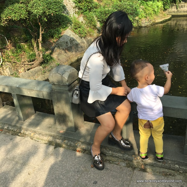 toddler in training pants at Jiangxin Islet in Wenzhou, China