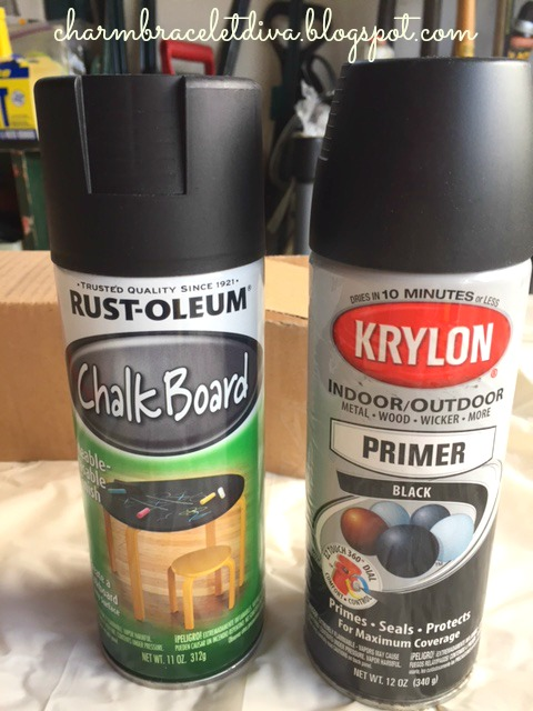 Rustoleum chalkboard spray paint and Krylon black spray primer