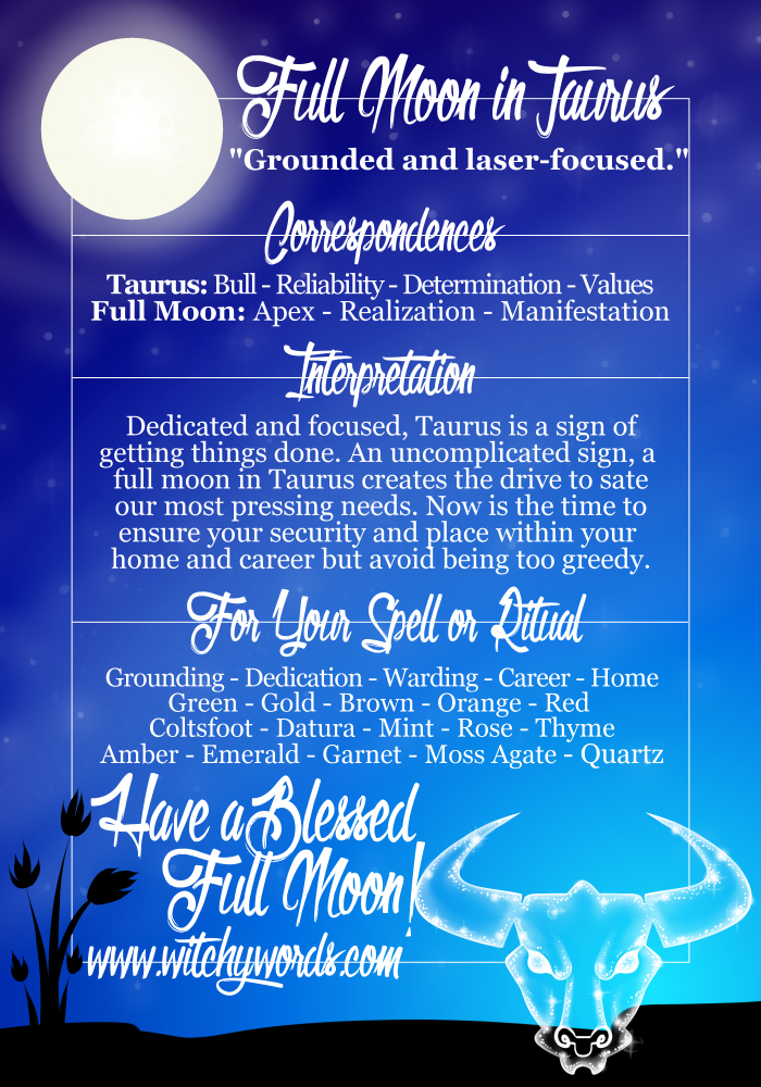 Witchy Words: Full Moon in Taurus