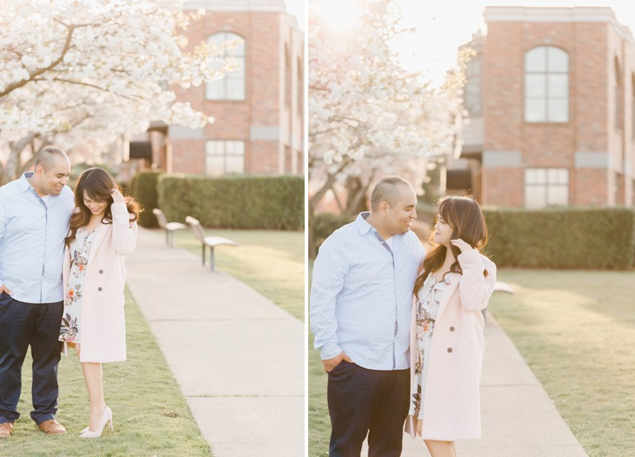 Spring Engagement Session-Cherry Blossom Photography- Seattle Wedding Photographers-Something Minted
