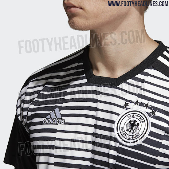 56a1f1ecd ... which is also used for Spain s 2018 World Cup pre-match jersey. The  sleeves and the back of the Adidas Germany Parley pre-match strip are solid  black.