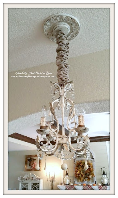 French Chandelier Makeover-After-Chalk Paint- From My Front Porch To Yours