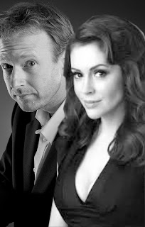 Timmy Boyle with Alyssa Milano - B&W