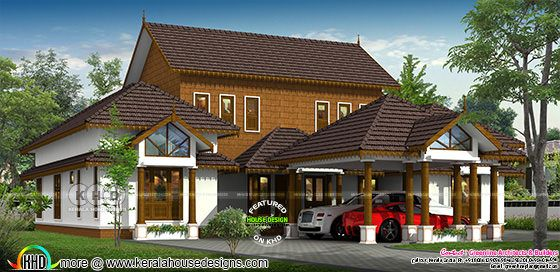 Typical Kerala traditional house with laterite stone wall