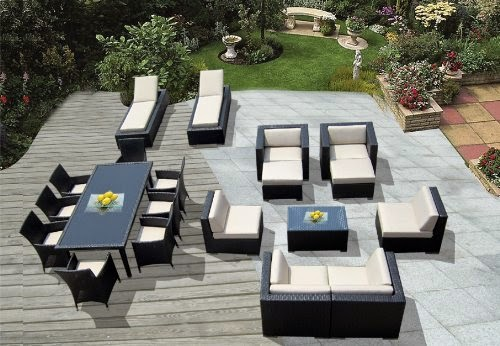 Ohana Collection Outdoor Sectional Sofa Dining and Chaise Lounge Wicker Patio Furniture Set