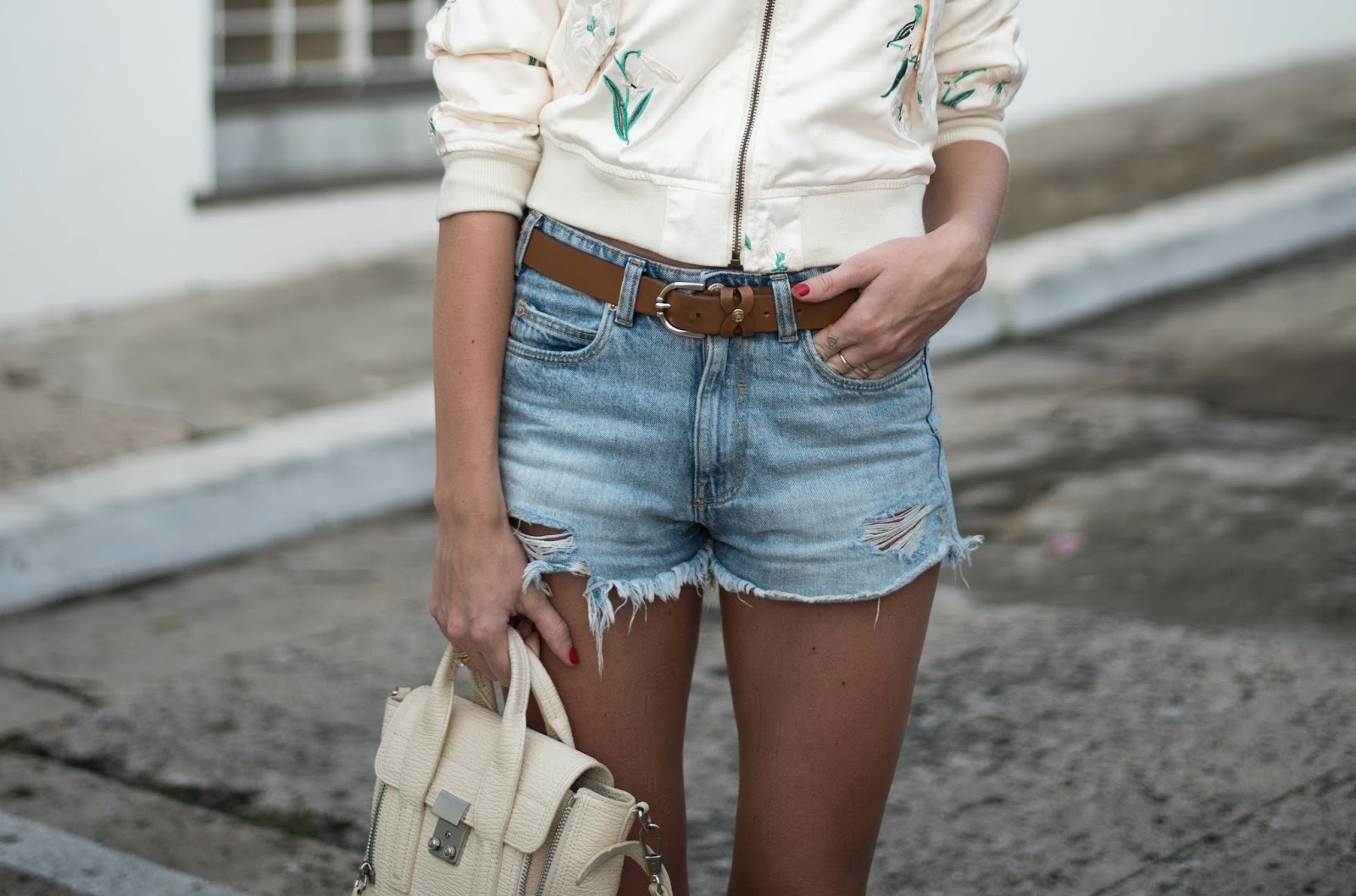 denim shorts phillip lim mini pashli bag outfit