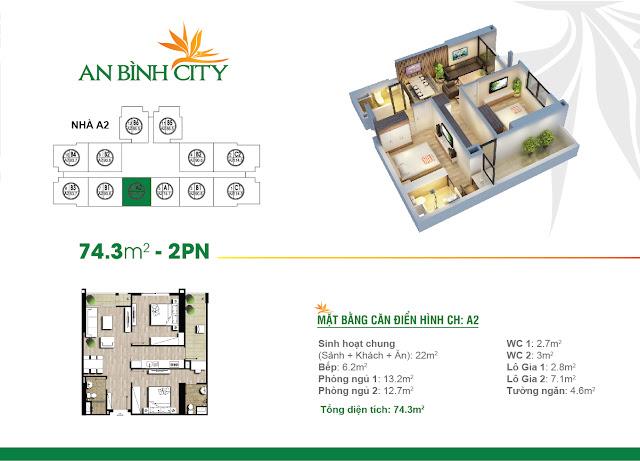 Thiết kế căn hộ 2 ngủ điển hình chung cư AN BÌNH CITY