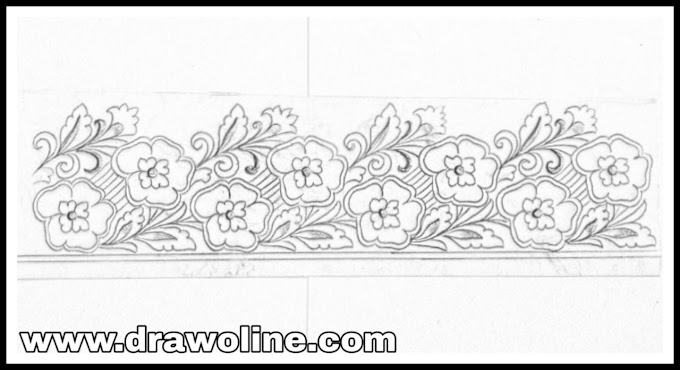 Sari ka kinara drawing/saree border design drawing for hand works and machine embroidery designs.