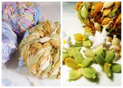Flores hechas con lana de pompones alargados