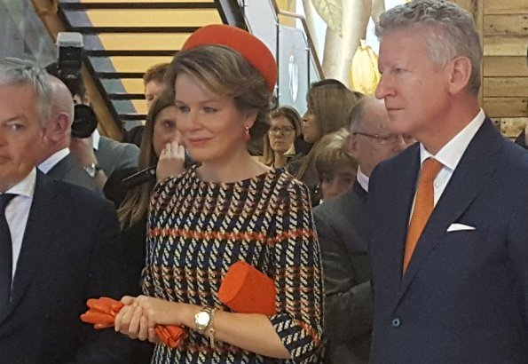Queen Mathilde's outfit is by Belgian fashion house Natan, and Dries Van Noten Desea Silk Floral printed Dress