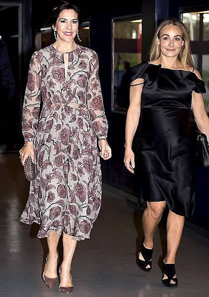 Crown Princess Mary wore Burberry Prorsum Floral Silk Georgette Dress and Valentino Pumps for Copenhagen Fashion Summit 2017 dinner