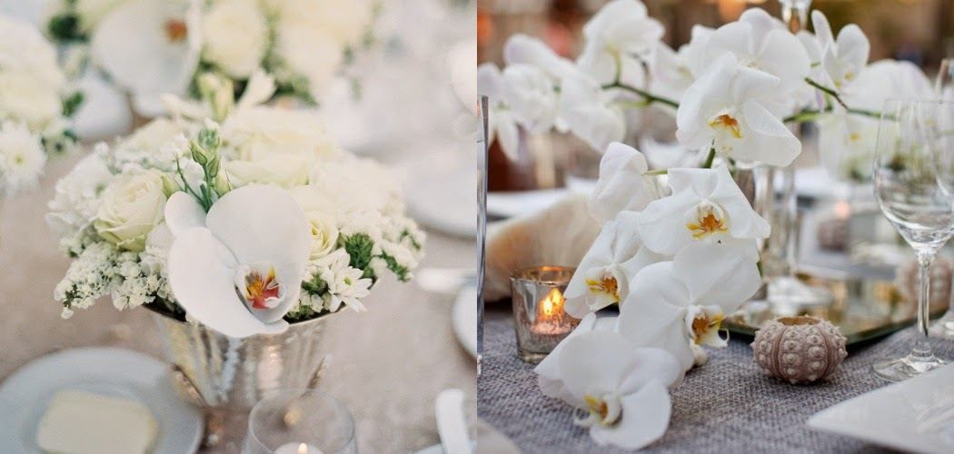 White orchid weddings table arrangements
