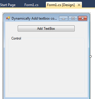 Dynamically Add textbox control on button click in windows