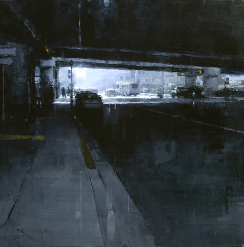 27-Under-the-80-in-Blue-Jeremy-Mann-Figurative-Painting-in-Cityscapes-Oil-Paintings-www-designstack-co