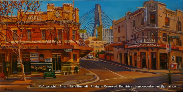 plein air oil painting on canvas of the Terminus Hotel, the Pyrmont Point Hotel and the Anzac Bridge in Pyrmont by industrial heritage artist Jane Bennet