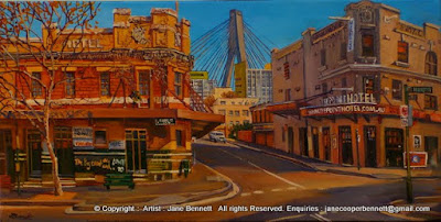 Plein air oil painting of the Point Hotel and the Terminus Hotel corner of John and Harris Street Pyrmont painted by industrial heritage artist Jane Bennett