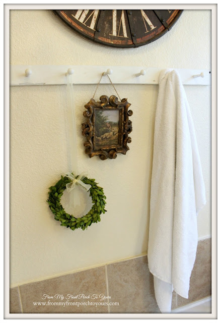 Farmhouse Master Bathroom-French Country-Peg Towel Rack-Mini Boxwood Wreath- From My Front Porch To Yours