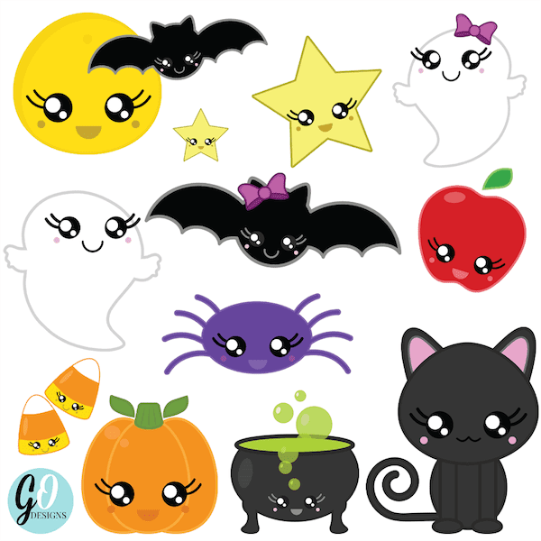 Halloween clip art and free games and activities for the primary grades. #gradeonederful #clipart #halloween #halloweenclipart #kawaiihalloween