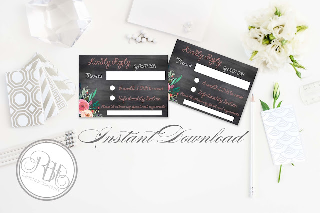 watercolour boho wedding rsvp by rbhdesignerconcepts.com