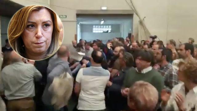 Empujones, insultos y escupitajos a estudiantes que protestaban en un acto de Susana Díaz en Gijón