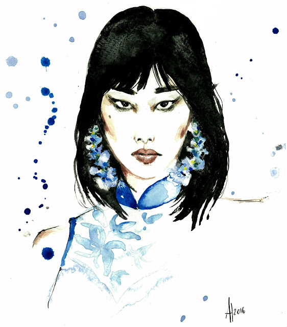 Ong Shunmugan fashion illustration watercolor Alessia Landi