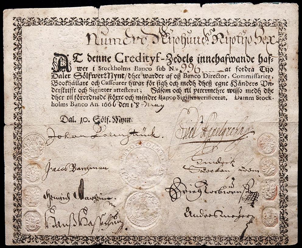 Resultado de imagen para Fotos de 1661: En Suecia, un banco emite el primer papel moneda en Europa.