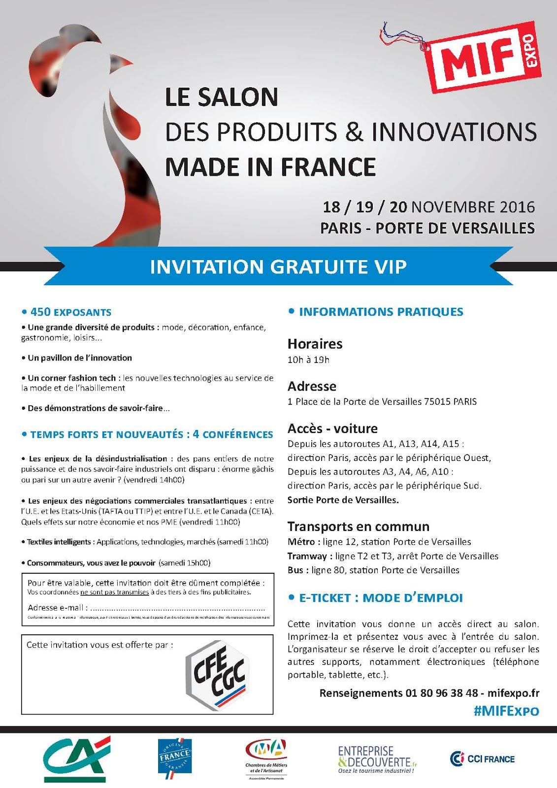 Cfe cgc adecco la cfe cgc vous invite au salon du made in for Salon made in france
