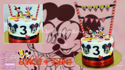 tarta personalizada fondant mickey minnie mouse verbena guirnalda cumpleaños gemelos mellizos laia's cupcakes puerto sagunto