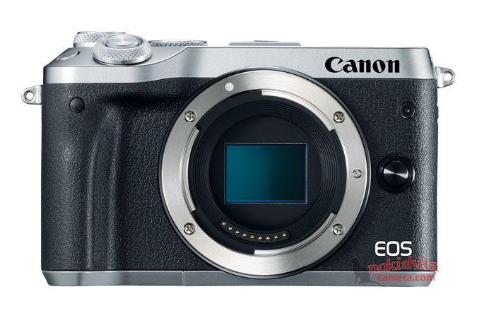 Canon EOS M6, серебристый, вид спереди